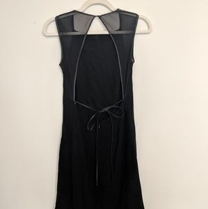 Black open back dress with mesh detail